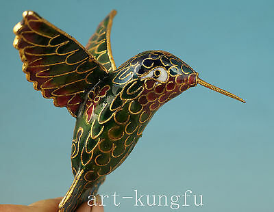 Chinese Old Cloisonne Collection Handmade Painting Hummingbird Statue Pendant