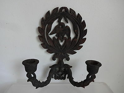 Antq Vtg Black Cast Iron 2 sleave Candle Sconce Candlestick Wall Hanger Eagle