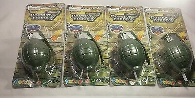 Lot of 4 Combat Force 7 Hand Grenade Toy With Sound Pin Pretend Play