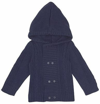 JoJo Maman Bebe Knit Hooded Cardigan Boys - Navy- 18-24 Months & 4-5 Years