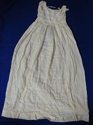 Antique Christening long Gown horizontal tucks Lovely, Ivory cotton, embroidery