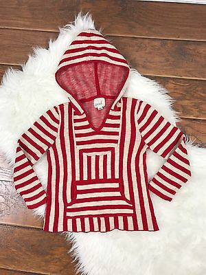 Peek Nordstrom Kids Red Striped Beach Hoodie Pullover Sweater Size L 8