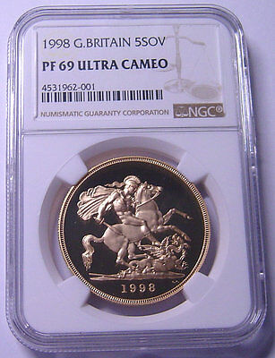 GREAT BRITAIN 5 Pounds 1998 Gold NGC PF69UC Low mintage 789 ps only