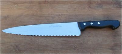 Vintage LUDWIG SCHIFF Solingen Germany XL Chef Knife w/Serrated Blade - NICE!