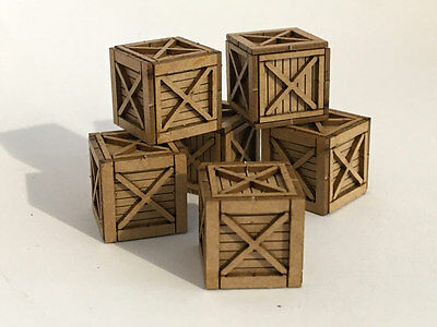 6 x LASER CUT 3ft SHIPPING CRATES FOR OO GAUGE 1:76 MODEL RAILWAY - LX112-OO