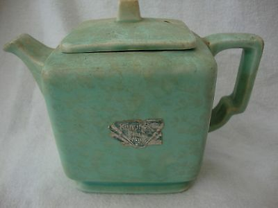 Art Deco Price Kensington Ware Pottery Mottled Green Teapot Square Shape