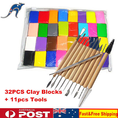 32pcs Kids Fimo Modelling Clay Blocks Polymer Bake Moulds + 11pcs Tools