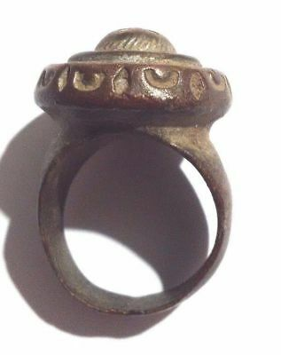 Antique Bronze Massive Ring With Residual Traces Of Silvering