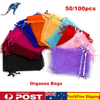 50/100pcs Organza Candy Gift Bags Jewellery Packing Pouches Wedding Party Favour