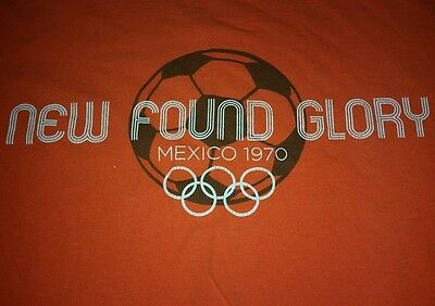 NEW FOUND GLORY mexico 1970 soccer OLYMPICS orange LARGE t-shirt TRUE VINTAGE