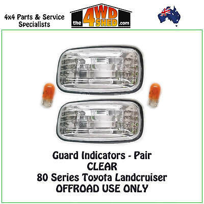 Indicator Guard Repeater Blinker Lights Toyota Landcruiser 80 Series Pair Clear