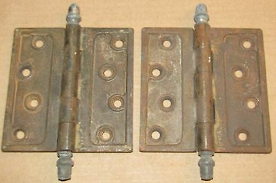 (2) Antique Cast Iron 4-1/2 Inch Square Door Hinge, Heavy, Ball Finial