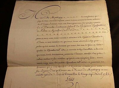 KING LOUIS XV AUTOGRAPH DOCUMENT - Order of Saint Louis Military Infantry - 1745