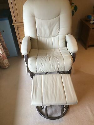 Kiddicare Cloud Nine Deluxe Glider Nursing Chair And Foot Stool Cream