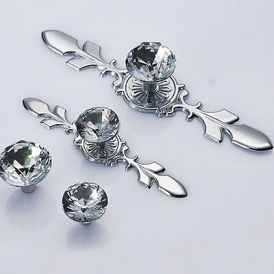 New Transparent Crystal Single-Hole Door Drawer Cabinets Pulls Handles Knobs