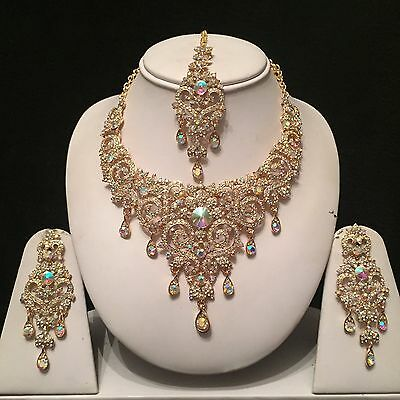 Gold Clear Indian Costume Jewellery Necklace Earrings Diamond Rainbow Set Bridal