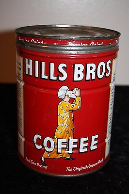 2Lb Hills Bros Coffee Tin Can Correct Lid Great Man With Cup Graphics