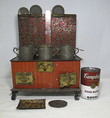 Antique American 19thC Miniature Embossed Tin Toy Cook Stove Salesman Sample yqz