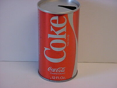 Coca-Cola Straight Steel Pull Tab Top Opened Soda Can Metallic Finish