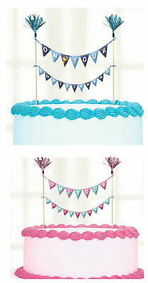 Christening Fancy Bunting Style Cake Pick Topper Decoration Boy or Girl