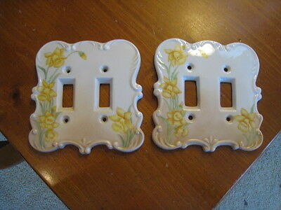 Two Vintage Ceramic Porcelain Switch Plate Covers Yellow Daffodils Beige Double