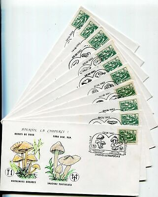 s16181) ROMANIA 1993 10 different covers with different postmarks MUSHROOMS