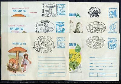 s16186) ROMANIA 1993/96 - 6 different covers with different postmarks MUSHROOMS