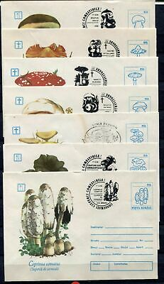 s16190) ROMANIA 1993/94  7 different  covers with different postmarks MUSHROOMS