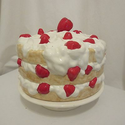 Vintage Strawberry Cake Plate Footed Ceramic Pedestal Stand Whipped Cream