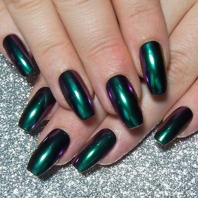 Chrome Colour-Shifting Chameleon Fake False Glue / Press On Gel Acrylic Nails
