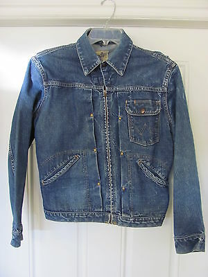 1950s Wrangler Blue Bell Denim Jacket Sanforized ~ Single Chest Pocket ~ Size 40