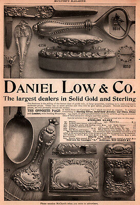 Ad Lot Of 6 1898 - 1903 Ads Low Silver Flatware Toilet Whistle Scarf Eagle Stamp