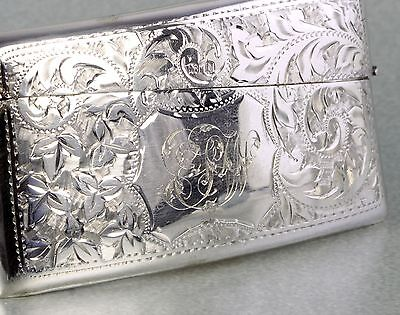 Superb Edwardian Sterling Silver Ornate Engraved Card Case / Holder B'ham 1908