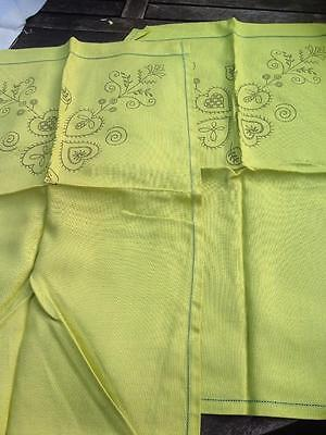 2 Printed Linen/Cotton Chair Backs for Embroidery in LIme Green 16 x 25""