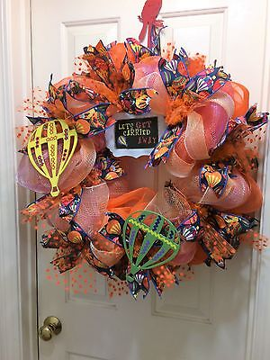 """Large  """"lets Get Carried Away """" Hot Air Balloon  Themed Deco Mesh Wreath"""