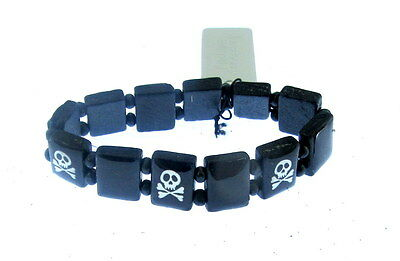 boys stretch  black pirate bracelet