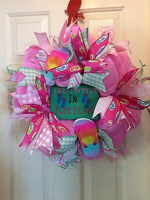 Very Bright And Cute Flip Flop Deco Mesh Wreath