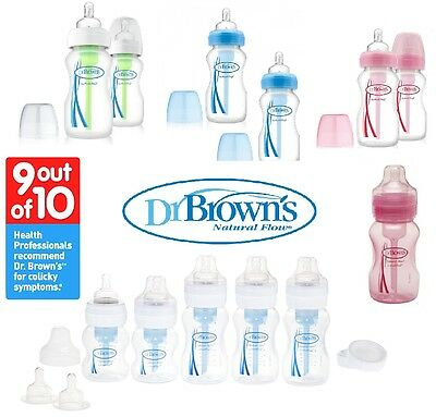 DR BROWN Natural Flow Wide Neck 1/2/3/4 PK 150ml 270ml Baby Feeding Bottles Set