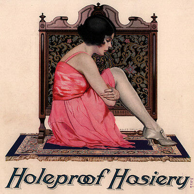 1922 Ad Holeproof Hosiery Flapper Coles Phillips Fisk Tires Yawning Boy