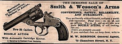 Ad Lot Of 2 1880 's Ads Smith Wesson Revolver Medal Paris  Hammerless Model 38