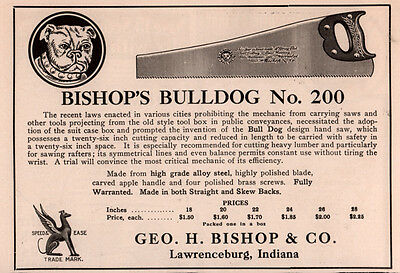 Ad Lot Of 5 1906-1917A  Ads Bishop Co Bulldog Saw No 200 Recent Laws Pruning