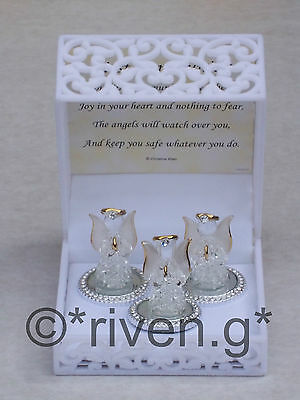 FIRST COMMUNION@Premium@3 GUARDIAN ANGEL WORRY Box@Glass & CRYSTAL@BAPTISM Gift