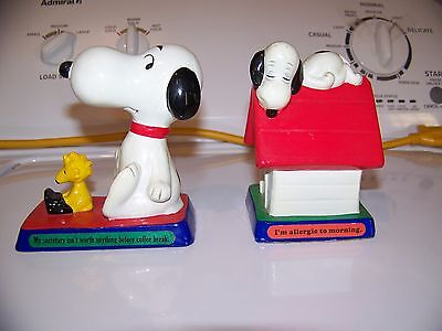 Lot of 2 Vintage 70s Snoopy & Woodstock Peanuts Figurines Determined Productions