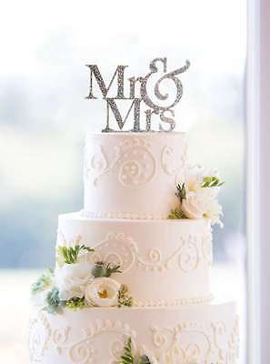 Mr and Mrs Sign, Bride And Groom Cake Topper Silver, Wedding Decorations, USA