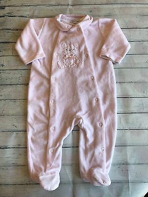Girls Babygrows 0-3 Months - Pretty Pink  Velour Baby Grow Sleepsuit -