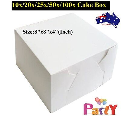 10/20/25/50/100pk CAKE BOXES Brand New Wedding Cake Box Cupcake Box 8x8x4 Inch