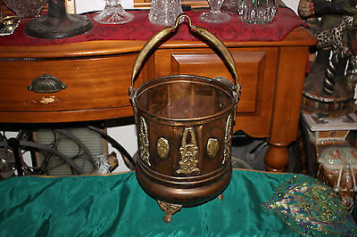 Vintage Middle Eastern Arabic Mid Century Copper Coal Fireplace Bucket W/Handle