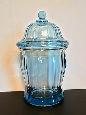 Antique Small Blue Heavy Glass Apothecary/Candy Canister- Caddy