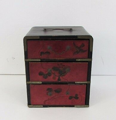 Antique 3 Drawer Japanese Hand Painted Box Tansu Chest with Handle
