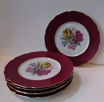 Vintage Set of 6 Maroon Red Floral Center Cabinet Plates Czechoslovakia